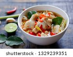 Stock photo spicy chicken drumstick soup tom yum gai clear soup thai style 1329239351
