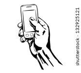 hands holding the smart phone... | Shutterstock .eps vector #132925121