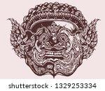 thai giant monster  hands... | Shutterstock . vector #1329253334