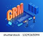 isometric crm web banner....   Shutterstock .eps vector #1329265094