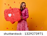 cheerful girl with pretty smile ... | Shutterstock . vector #1329273971