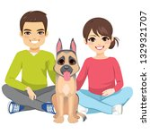 young couple with pet new... | Shutterstock . vector #1329321707