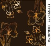 pattern flowers and leafs...   Shutterstock .eps vector #1329321881