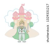 funny cartoon prince and the...   Shutterstock . vector #1329331217