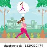 young woman jogging fat girl...   Shutterstock . vector #1329332474