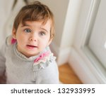 Cute Baby Looking Up, Indoors - stock photo