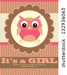 baby shower with cute owl.... | Shutterstock .eps vector #132936065