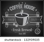 coffee house card   chalkboard. ...
