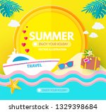 hot vacation design template.... | Shutterstock .eps vector #1329398684