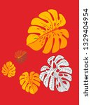 vector tropical pattern with... | Shutterstock .eps vector #1329404954