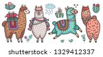 cute lamas standing and running.... | Shutterstock .eps vector #1329412337