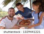 cute dad with children holding... | Shutterstock . vector #1329441221