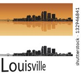Louisville skyline in orange background in editable vector file - stock vector
