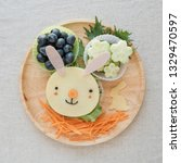 easter bunny lunch plate  fun... | Shutterstock . vector #1329470597
