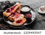 crepes with cottage cheese ...   Shutterstock . vector #1329493547