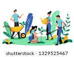 volunteering  charity social... | Shutterstock .eps vector #1329525467