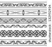 vector vintage borders set | Shutterstock .eps vector #132952934