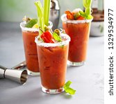 bloody mary cocktails with...   Shutterstock . vector #1329534977