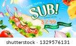 submarine sandwich ads with... | Shutterstock .eps vector #1329576131