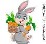 easter bunny carrying basket... | Shutterstock .eps vector #1329596801