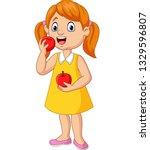 Cartoon Little Girl Eating...