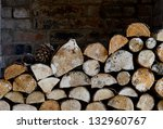 Rustic Logs Stacked In A...