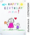 happy birthday mom. children...   Shutterstock .eps vector #1329632684