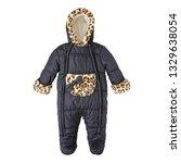 black baby girls snowsuit with... | Shutterstock . vector #1329638054