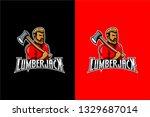 lumberjack mascot  lumberjack... | Shutterstock .eps vector #1329687014