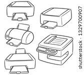vector set of printer | Shutterstock .eps vector #1329700907