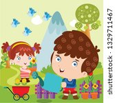 young children are watering and ... | Shutterstock .eps vector #1329711467
