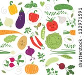 seamless pattern   vegetables... | Shutterstock .eps vector #132971591