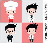 flat vector chibi kawaii cute boy kid on chef, doctor, and businessman costume