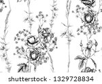 roses and spring flowers... | Shutterstock .eps vector #1329728834