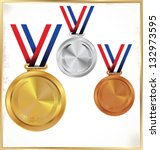 medals   gold  silver and bronze | Shutterstock .eps vector #132973595