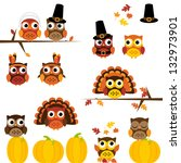Vector Set of Thanksgiving Themed Owls - stock vector