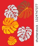 vector tropical pattern with... | Shutterstock .eps vector #1329747377