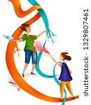 happy holi festival of colors... | Shutterstock .eps vector #1329807461