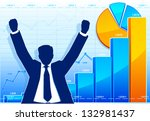 happy businessman with growing... | Shutterstock .eps vector #132981437
