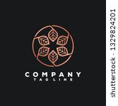 luxury leaf logo design | Shutterstock .eps vector #1329824201
