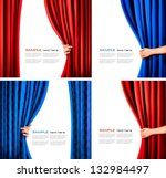 Set Of Backgrounds With Red An...