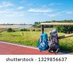 walking on camino de santiago... | Shutterstock . vector #1329856637