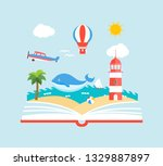 imagination concept with opened ... | Shutterstock .eps vector #1329887897