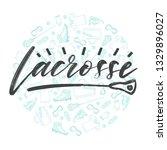 lacrosse lettering logo with... | Shutterstock .eps vector #1329896027