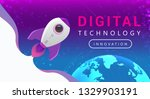 digital technology banner pink... | Shutterstock .eps vector #1329903191