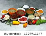 spices and herbs on table. food ... | Shutterstock . vector #1329911147