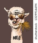 funny poster. portrait of llama ... | Shutterstock .eps vector #1329916694