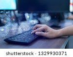 close up programmer man hand... | Shutterstock . vector #1329930371