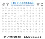 140 food line icons set. vector ... | Shutterstock .eps vector #1329931181