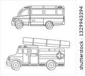ambulance fire truck  cars kids ... | Shutterstock .eps vector #1329943394
